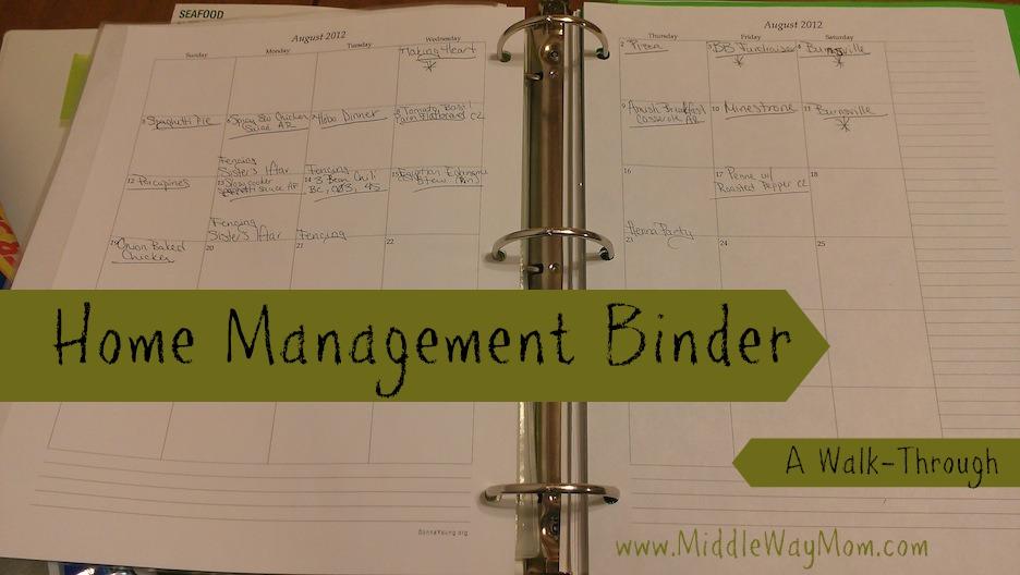 Home Management Binder - a Walk Through - www.MiddleWayMom.com