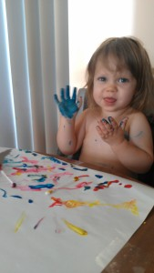 Painting turns to finger painting, turns to full arm painting :)