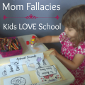 Super Homeschool Mom Fallacies: Kids LOVE School. It's not all sunshine and lollipops! Some days (years) are tough! - www.MiddleWayMom.com