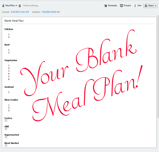 Using Evernote for a Home Management Binder - with sample meal plan note!
